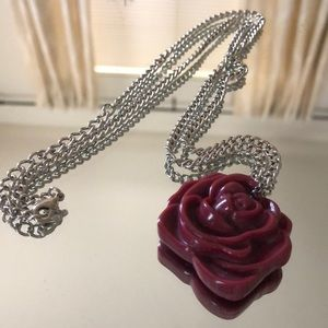 Resin Rose Long Necklace